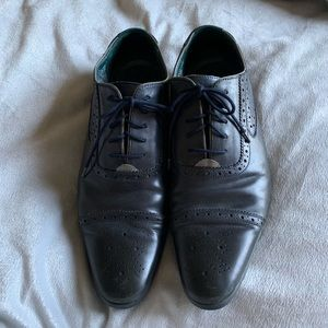 Ted Baker navy leather wingtip shoes, size 10